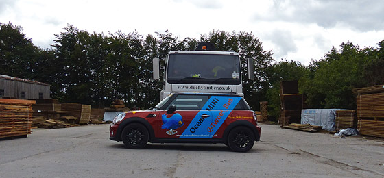 Tweet_Bus MINI tours of Cornwall at Duchy Timber, Lostwithiel.